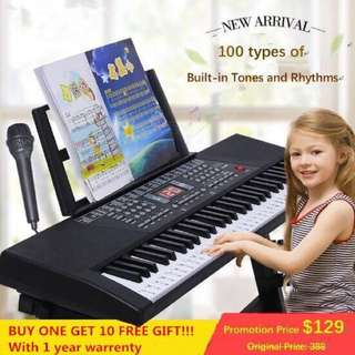 Free shipping!Piano Keyboard .beginners with the age of children 61 key electronic keyboard power supply microphone toy educational piano children started teaching beginner music instrument,  Christmas gifts , Birthday gifts