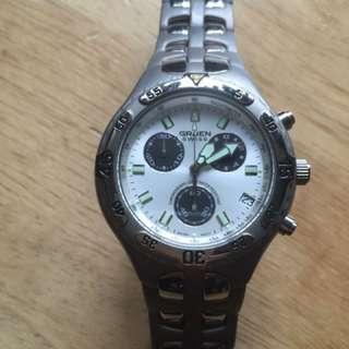 GRUEN Chronograph quartz solid titanium Swiss watch (99% new)