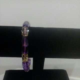 🚚 黃,紫,水晶手鍊