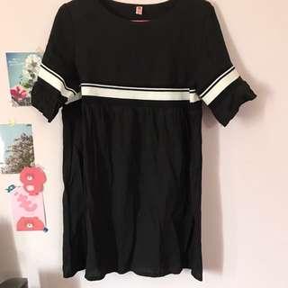 黑色棉麻洋裝