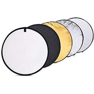 5 in 1 Reflector (Circular) | 60cm Diameter | Lighting Accessories | Gold Silver White Black Translucent Round Reflector | Studio Equipment