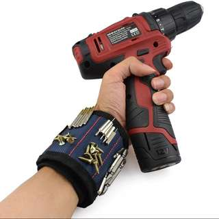 Polyester Magnetic Wristband Portable Tool Bag Electrician Wrist Tool Belt Screws Nails Drill Bits Holder Holding Repair Tools