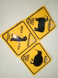 Car tag signage board new zealand kiwi penguin sheep