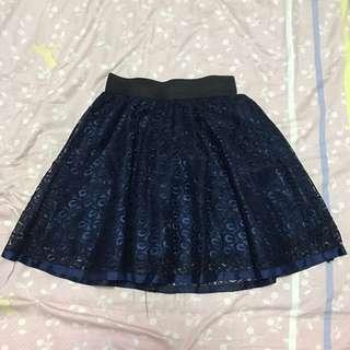 Dark Blue Lace Elastic Skirt