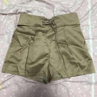 Gold Cross Tie Zipper Shorts | Size L