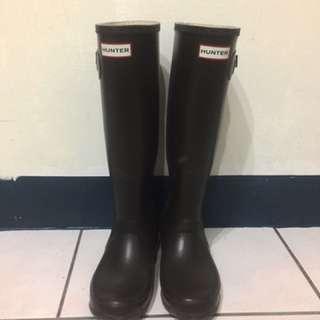🚚 Hunter 咖啡色霧面雨鞋