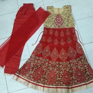 Red &Gold Girl Punjabi Suit size 30