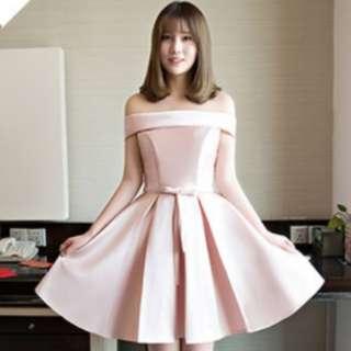 伴娘禮服 短裙禮服 冬季禮服 一字肩平領 卡肩 粉色
