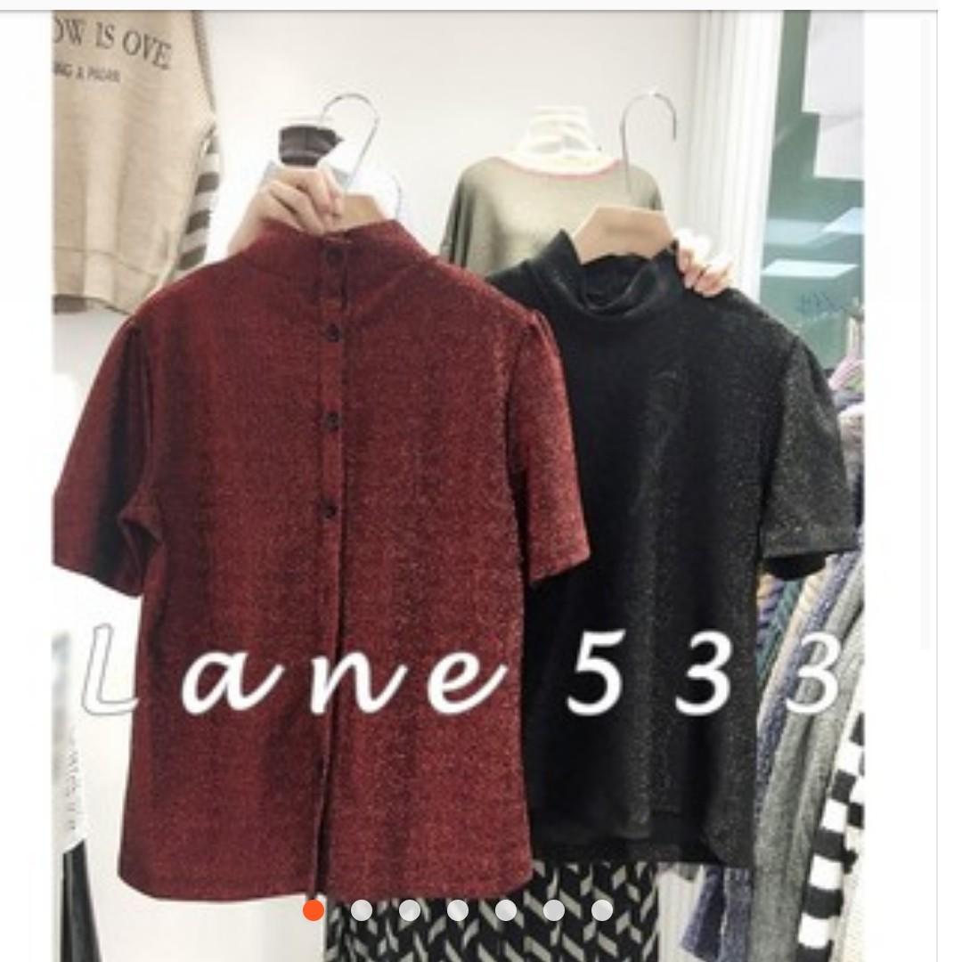 轉賣533  KOREA韓國背面排扣亮金蔥立領高領短袖上衣