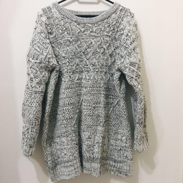 黑白混色長版毛衣/洋裝