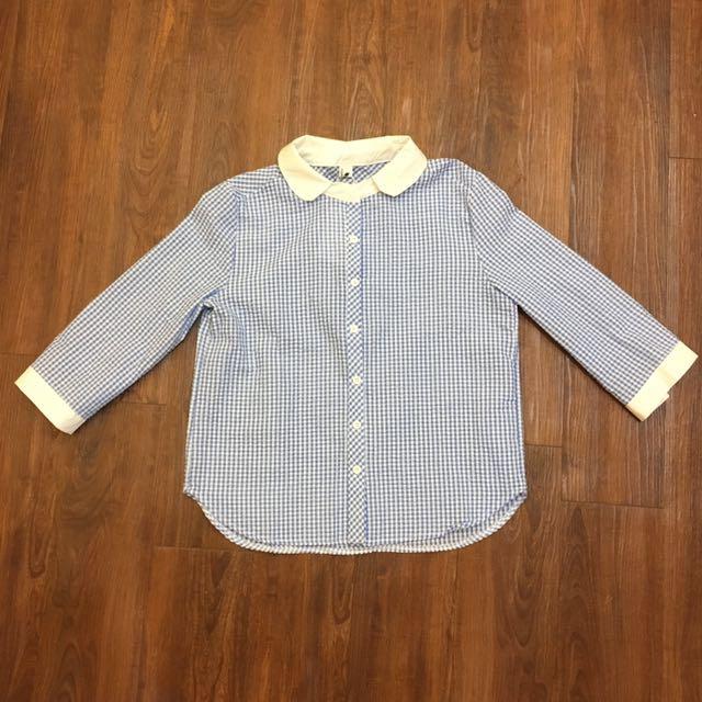 全新✨圓領淡藍格紋七分袖襯衫