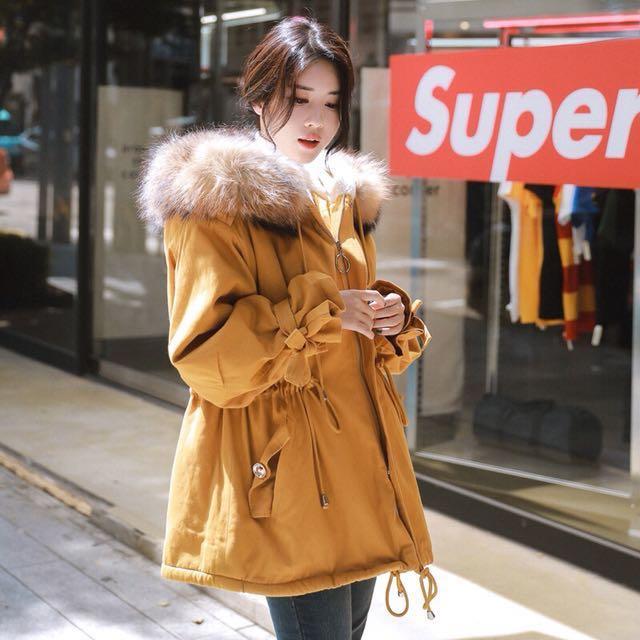韓版羔羊毛介黃色收腰外套(可議)