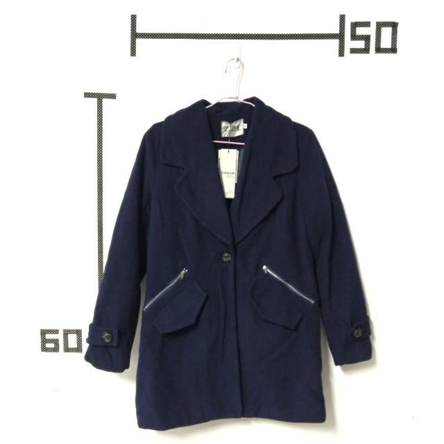 深藍舖棉西裝大衣外套