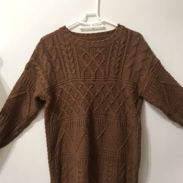 鉤針緹紋焦糖咖啡長版毛衣