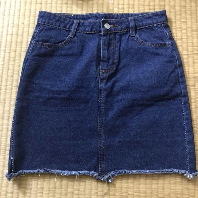 藍色牛仔短裙
