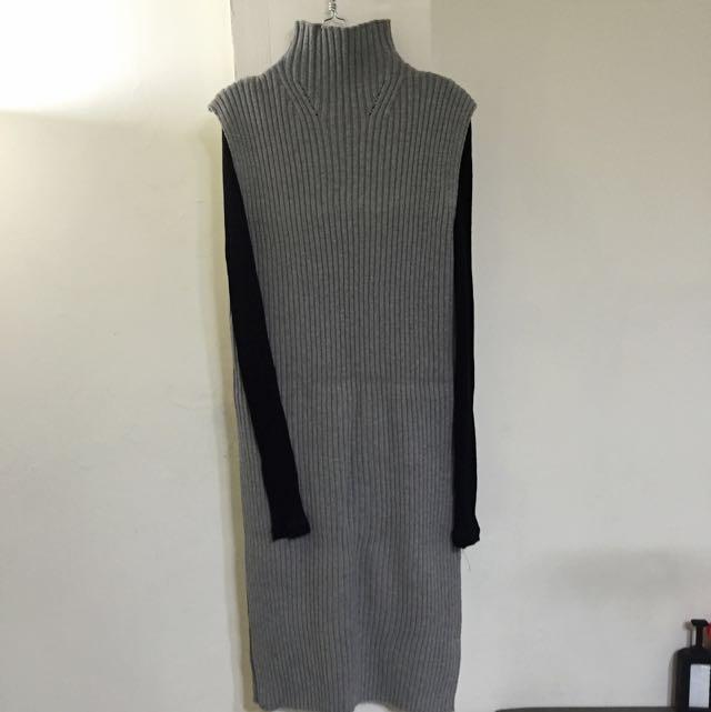 (降價)全新 正韓立領長版側開岔毛衣