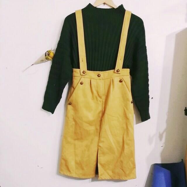 全新 墨綠毛衣+駝色吊帶裙  #冬季衣櫃出清