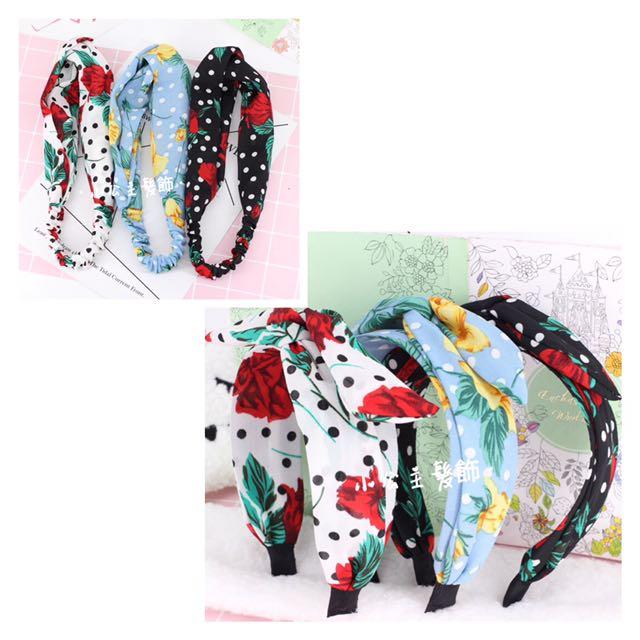 韓版 原點印花髮帶、造型兔耳髮箍