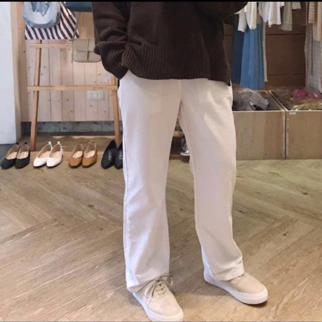 正韓  白色落地寬褲