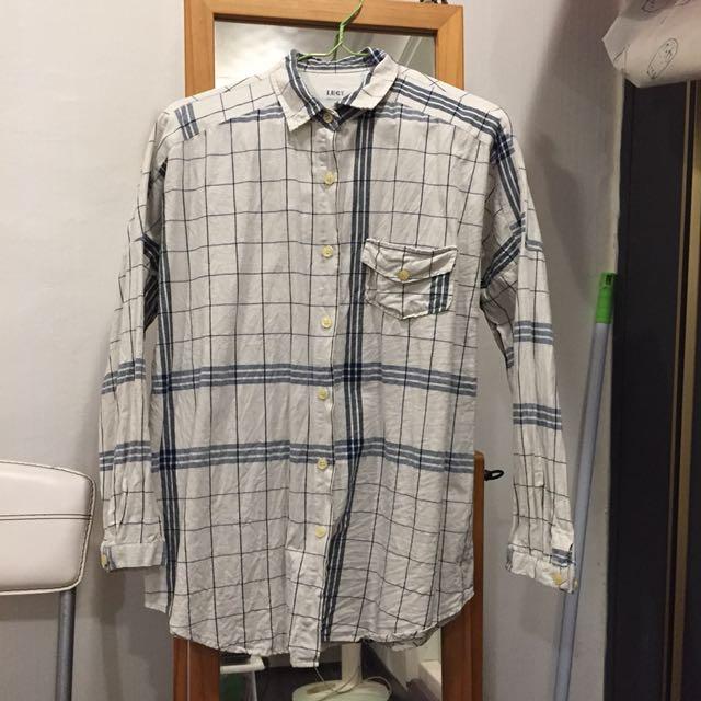 正韓  文青格紋襯衫
