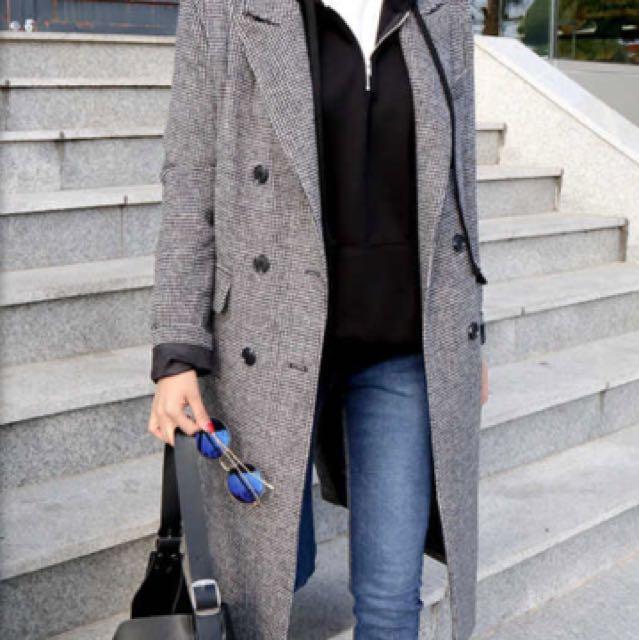 正韓 韓國製 格紋長版大衣 版型挺