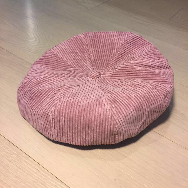 粉色燈芯絨畫家帽 南瓜帽 八角帽 刺繡細節#手滑買太多