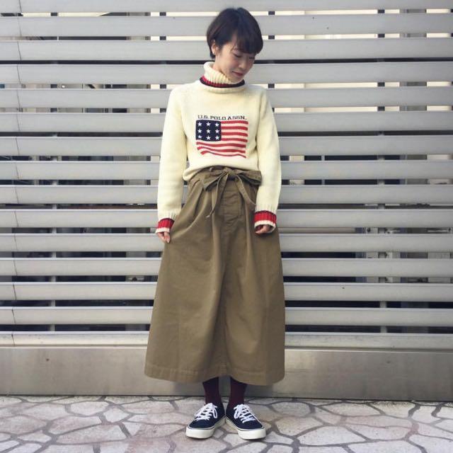 日本製 beams boy 長裙 百折裙 卡其色 復古 古著 蝴蝶結 極簡 非mhl