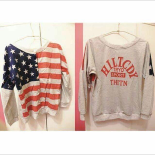 全新 美國旗外套T恤