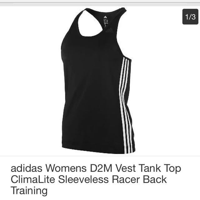 25a062650d4f adidas Womens D2M Vest Tank Top BLUE ClimaLite Sleeveless Racer Back  Training