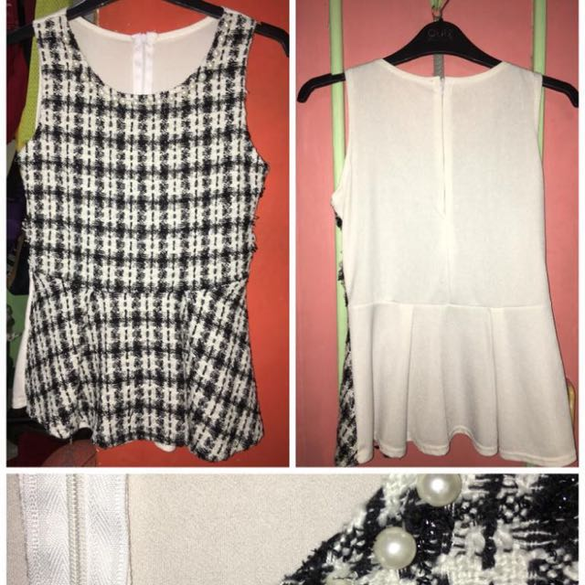 Black & White Patterned Peplum Top with Pearls