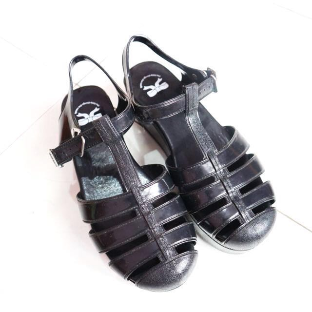 Black Jelly Wedges Shoes