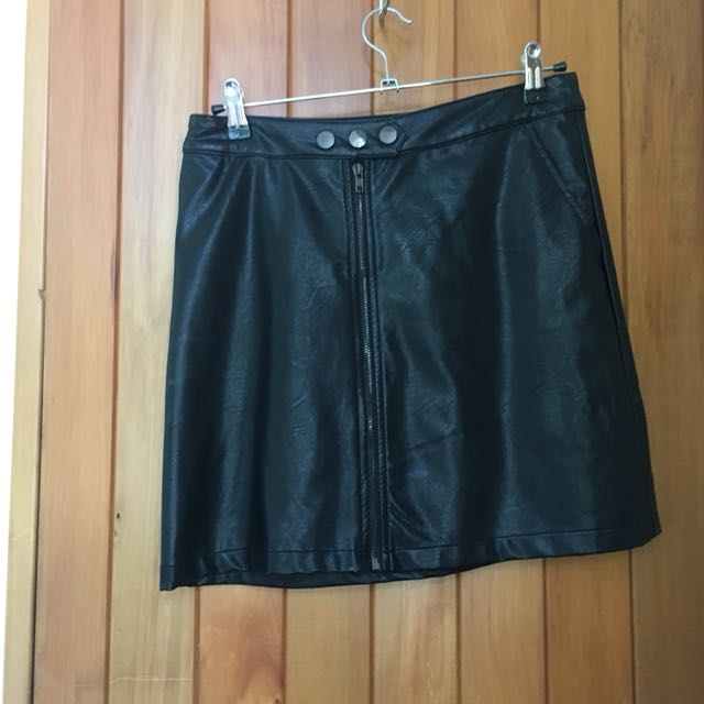 Black leather mini skirt a line style