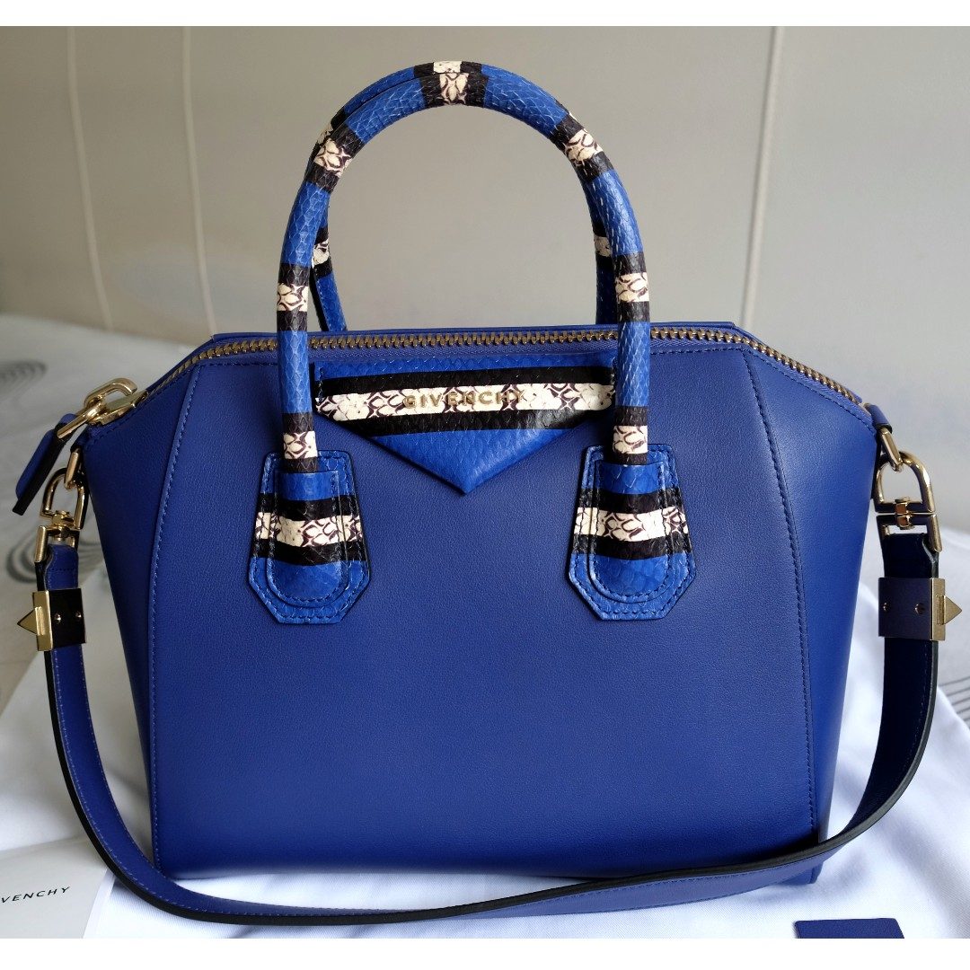7ee8dd5afec6 BNWT GIVENCHY Bright Blue Ayers Snakeskin Sugar Goat Leather Small ...