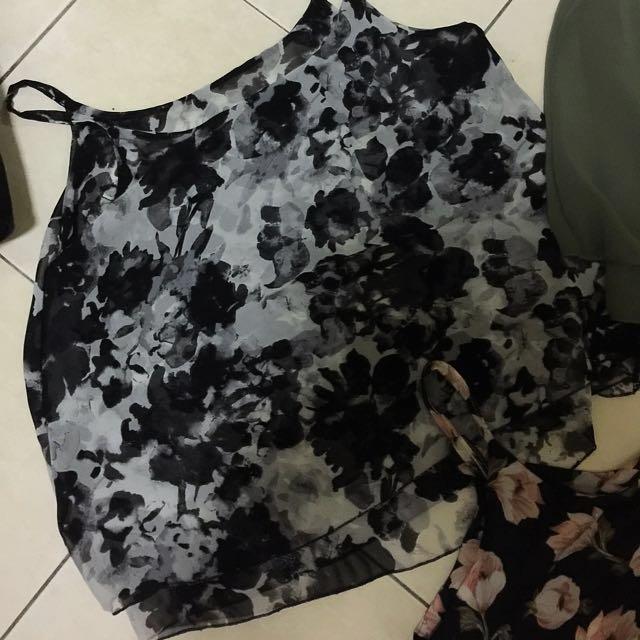 Brand new chiffon black flower top