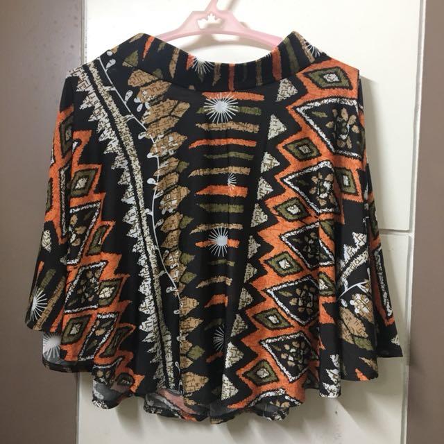Brown Printed Skater Skirt