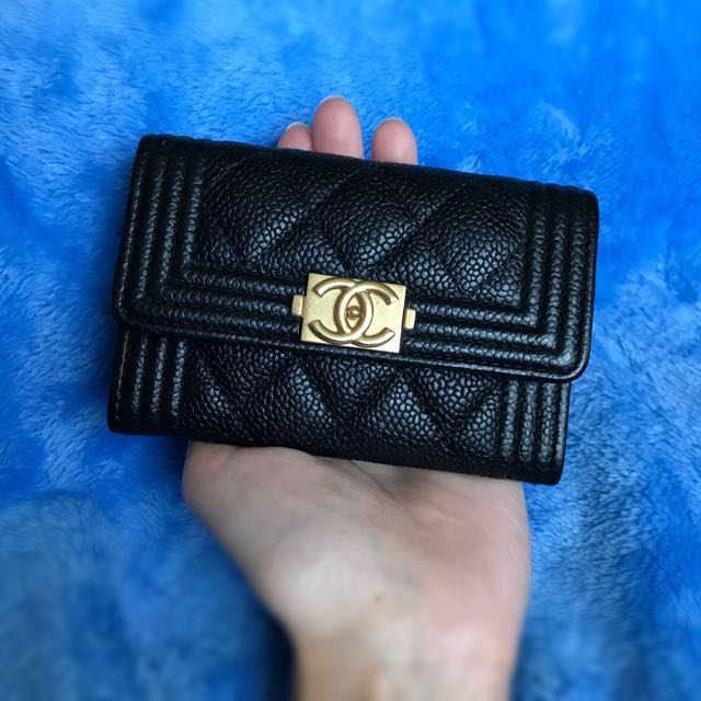 4b00666fae5322 Chanel Boy Cardholder Black GHW, Luxury, Bags & Wallets on Carousell
