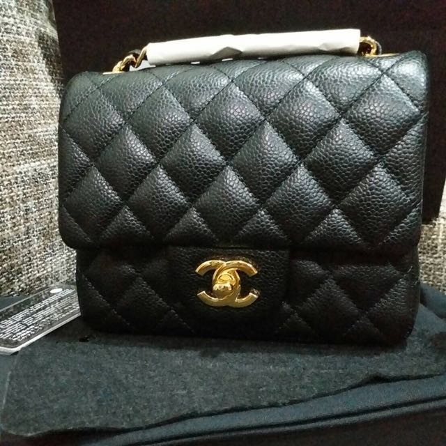 c81c0700e301 Chanel Coco Mini Square 17cm 荔枝皮黑金, Luxury, Bags & Wallets on Carousell