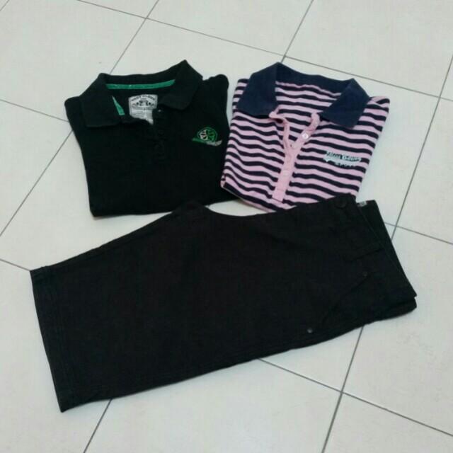Collar Tee x2 & three quarter pants (All)