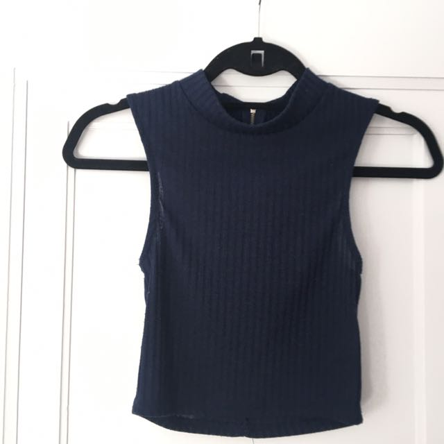 Cropped M Mock Neck top