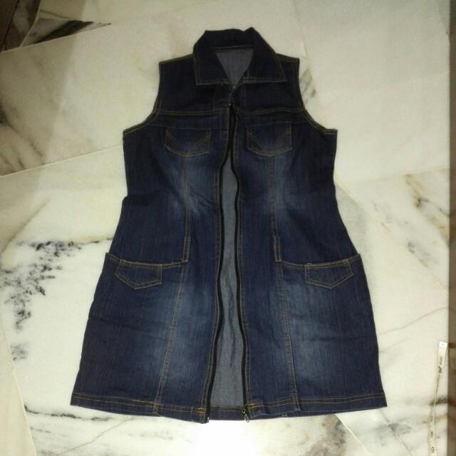 Denim zip dress with pockets