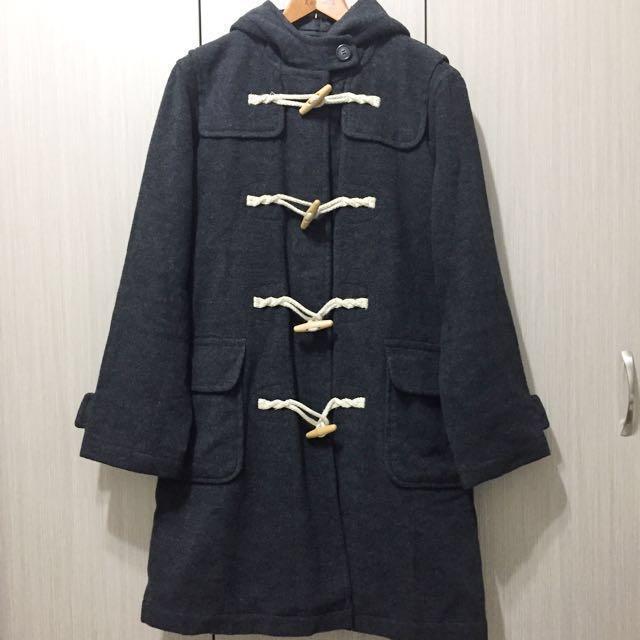 日牌Estacot復古古著日系學院風經典百搭深灰色羊毛毛呢牛角釦木釦寬鬆連帽長版大衣外套