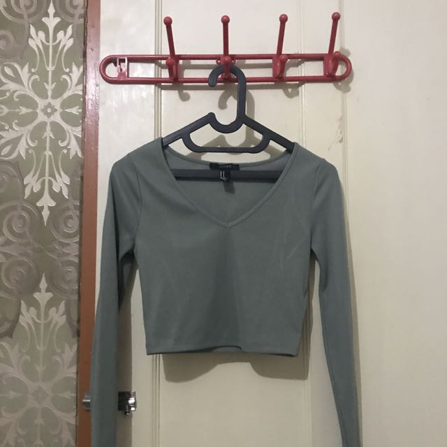 Forever 21 crop top green