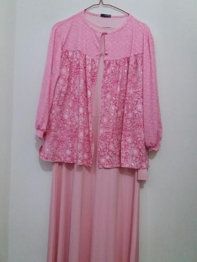 Gamis Elzatta Pink Batik Jersey Women S Fashion Muslim Fashion
