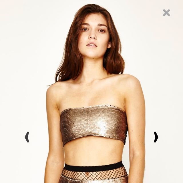 Gold Sequin Bandeau Size Small