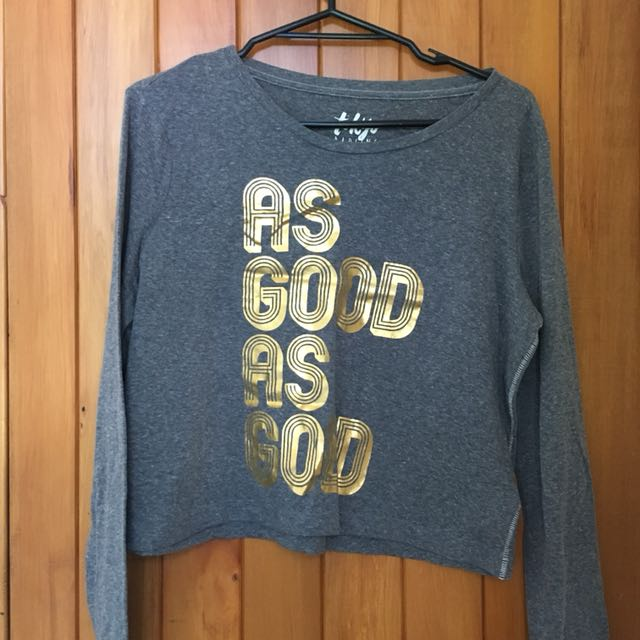 Grey as good as gold long sleeve crop tshirt