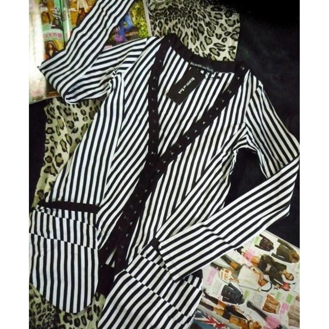 日本高單價品牌Heaven & Earth黑白直條紋v領鉚釘壓摺口袋薄外套
