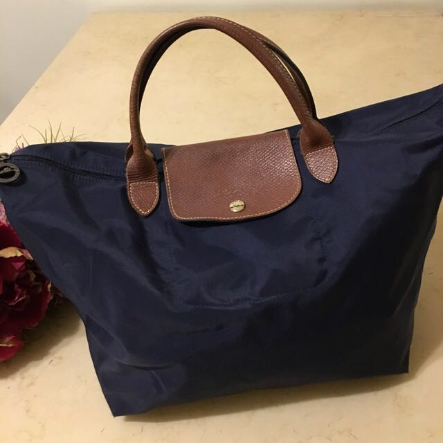 Longchamp寶藍色短柄購物包(正品)+Longchamp桃紅色短柄購物包(正品)
