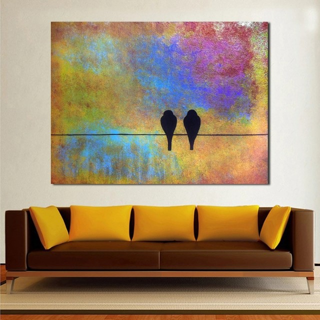 Lovey Dovey Birds Handpainted Oil Painting