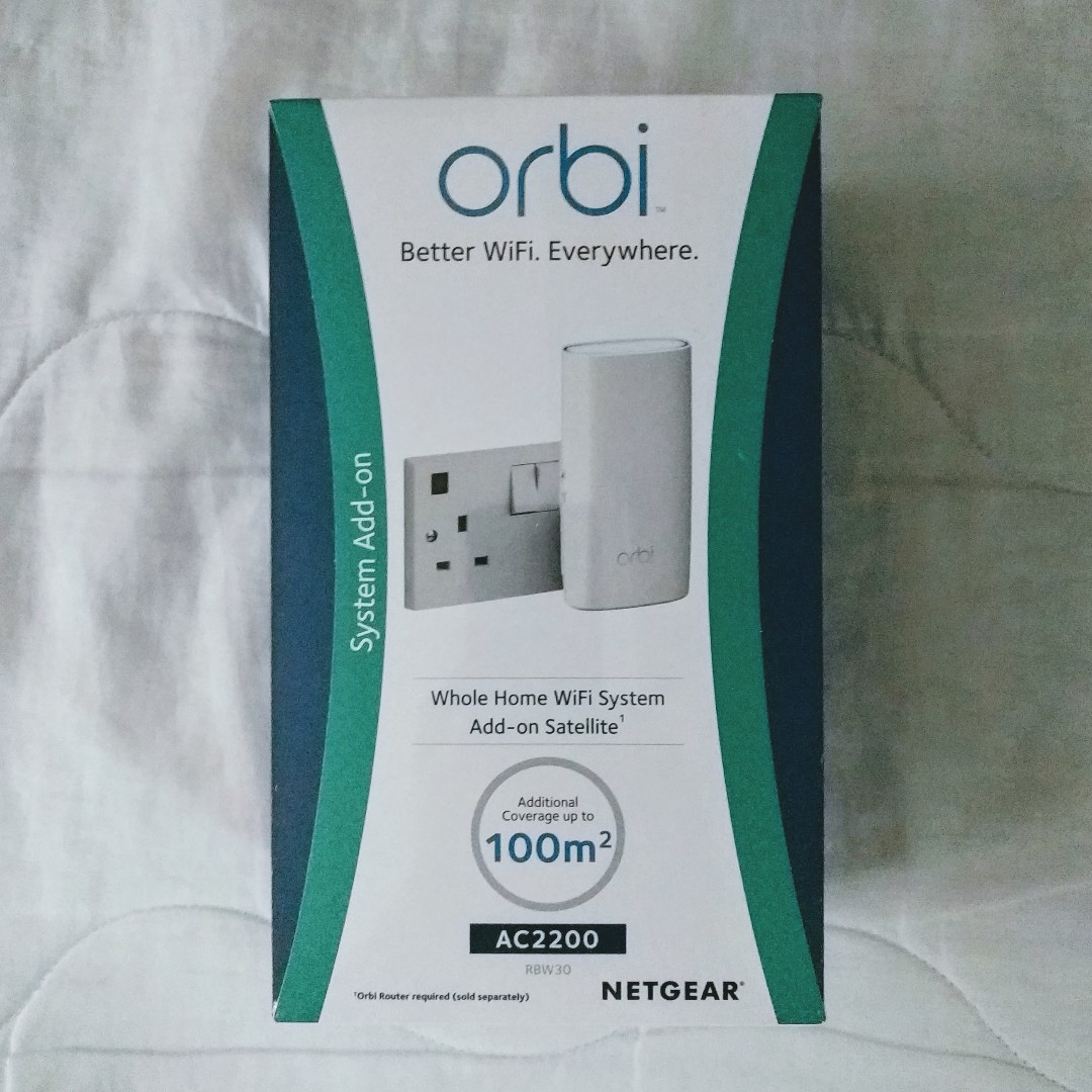 NETGEAR RBW30 Orbi Whole Home Wi-Fi Mesh System, Add Up to 1500 sq ft (11AC  2 2 Gbps Tri-Band Wi-Fi Add-On Wall Plug Satellite)