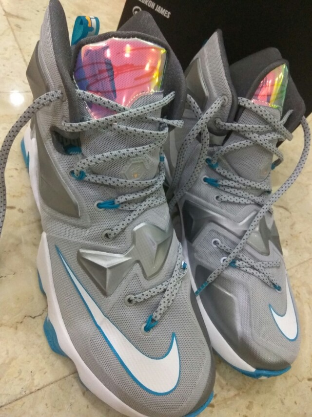 new products 5b3a4 1c4ed LIKE NEW - NIKE LEBRON JAMES XIII GREY   BLUE LAGOON   WHITE NBA ...